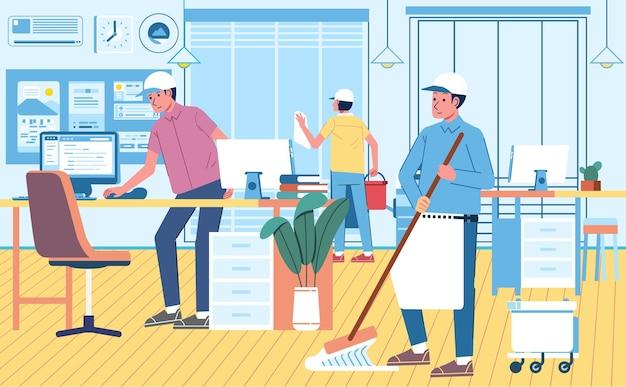 Profesjonalna usługa sprzątania, sprzątanie biura po godzinach pracy. biuro projekt wnętrza płaska ilustracja.
