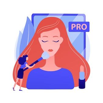 Profesjonalna wizażystka. salon kosmetyczny, wizaż, ekspert kosmetyczny. pracownik branży kosmetycznej stosując cienie do powiek, puder do różu pędzlem. ilustracja wektorowa na białym tle koncepcja metafora