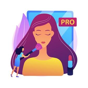 Profesjonalna wizażystka. salon kosmetyczny, wizaż, ekspert kosmetyczny. pracownik branży kosmetycznej stosując cienie do powiek, puder do różu pędzlem.