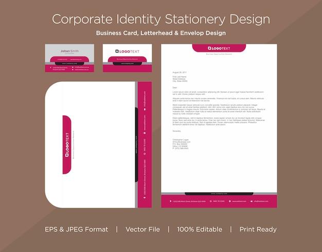 Profesjonalna wizytówka, papier firmowy i szablon koperty