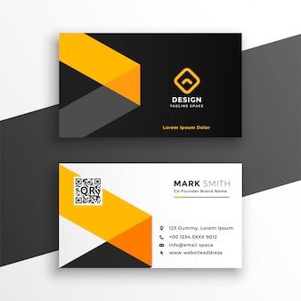Profesjonalna żółta wizytówka nowoczesny szablon projektu