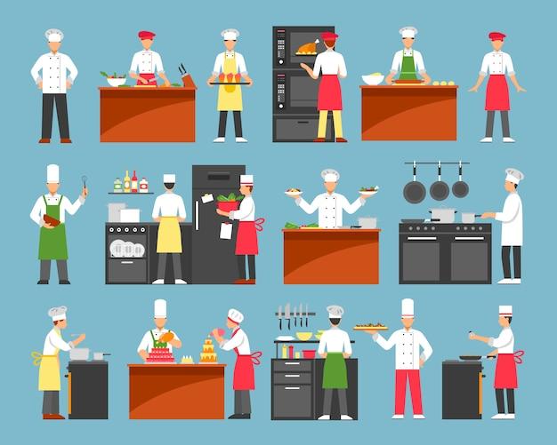 Profesjonalne gotowanie dekoracyjne zestaw ikon