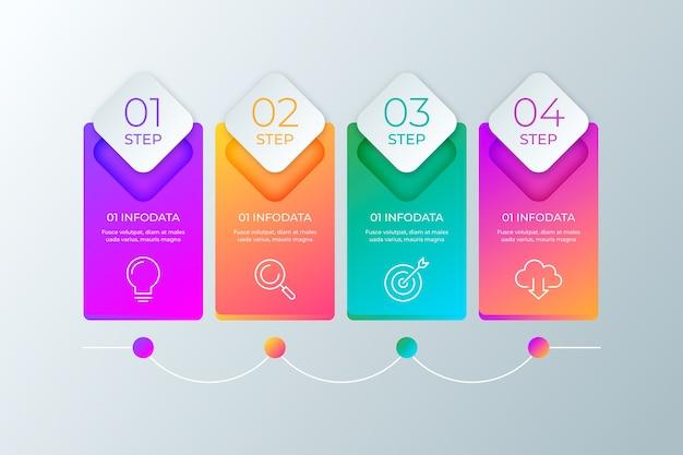 Profesjonalne kroki gradientu infographic
