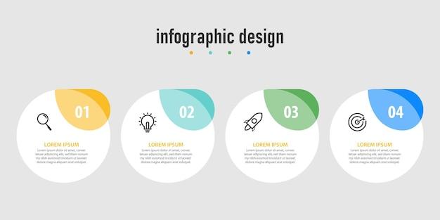 Profesjonalne kroki infografika biznesowy diagram kroki nowoczesnego szablonu projektu