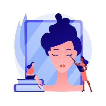 Profesjonalne kursy makijażu. warsztaty kosmetyczne, zajęcia z wizażu, zajęcia z kosmetologii. praktykantka wizażystki, studentka konsultacji. ilustracja wektorowa na białym tle koncepcja metafora