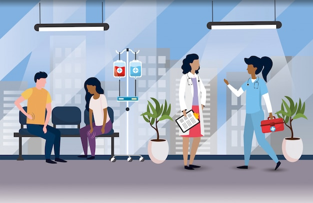 Profesjonalne lekarze z chorymi pacjentami