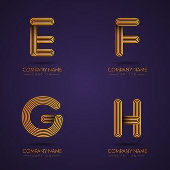 Profesjonalne litery efgh w stylu odcisków palców