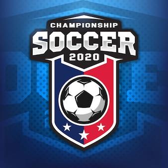 Profesjonalne logo piłki nożnej w stylu płaski, piłka i tarcza z gwiazdami. gry sportowe.