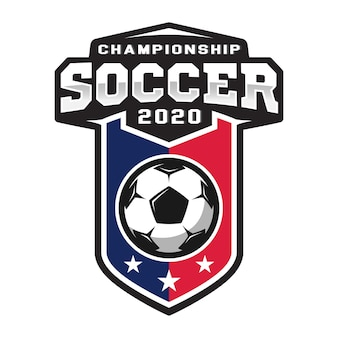 Profesjonalne logo piłki nożnej w stylu płaski, piłka i tarcza z gwiazdami.