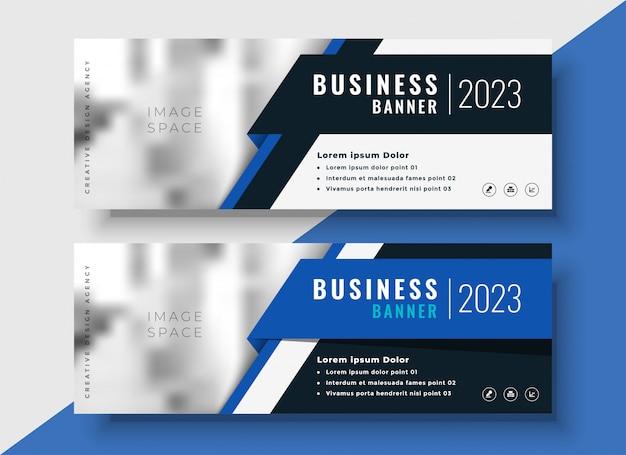 Profesjonalne niebieskie banery biznesowe z miejsca na obraz