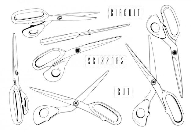 Profesjonalne nożyce zestaw do cięcia krawców rysowanie linii. cięty papier, prosty kształt linii. grafika czarno-biała.