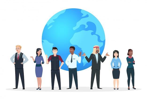Profesjonalne postacie drużynowe. azjatyccy, europejscy i afrykańscy ludzie biznesu stoi przy światową kuli ziemskiej ilustracją. koncepcja wektor międzynarodowego biznesu