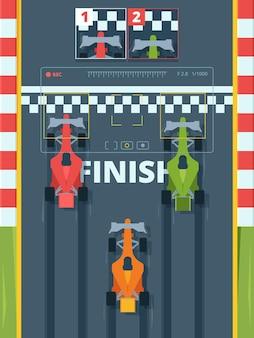 Profesjonalne samochody wyścigowe na mecie widok z góry. sportowe bolidy na autostradzie. turniej wyścigów samochodowych, pomysł na rajd. jasne samochody sportowe na żużlu. zwycięskie samochody prędkości na drogach