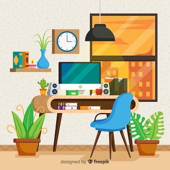 Profesjonalne wnętrze biura o płaskiej konstrukcji