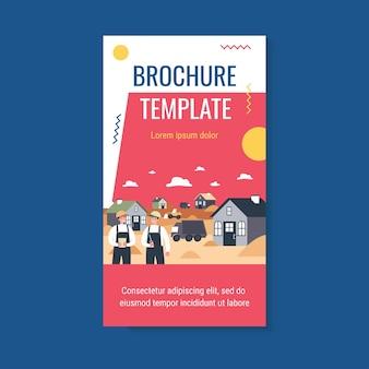 Profesjonalni budowniczowie budujący domy szablon broszury