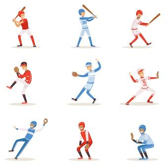 Profesjonalni gracze baseballowi na boisku grający w baseball, sportowcy w jednolitym zestawie ilustracji.