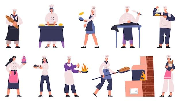 Profesjonalni kucharze restauracji przygotowujący smaczne dania. kulinarny szef kuchni przygotowuje jedzenie w tradycyjnym białym mundurze wektor zestaw ilustracji. szefowie kuchni restauracji przygotowują profesjonalne postacie