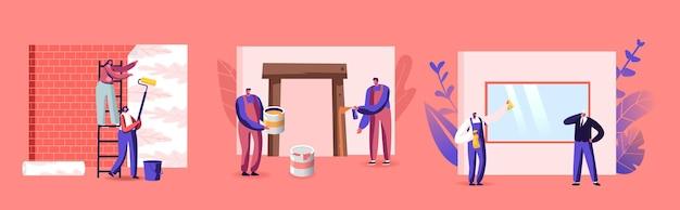 Profesjonalni pracownicy budowlani z narzędziami. postacie z instrumentami i sprzętem do naprawy i renowacji domu. malowanie, kij tapety, czyszczenie okna. ilustracja wektorowa kreskówka ludzie