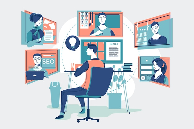 Profesjonalni pracownicy, praca zespołowa online