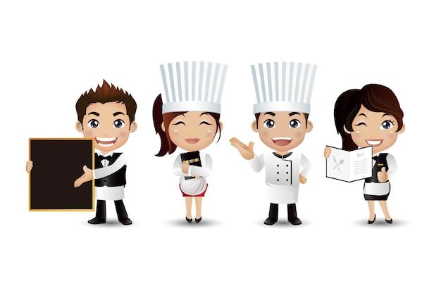 Profesjonalni szefowie kuchni o różnych pozach