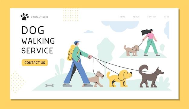 Profesjonalni wyprowadzacze psów zabierają psy na spacer usługa wyprowadzania psów