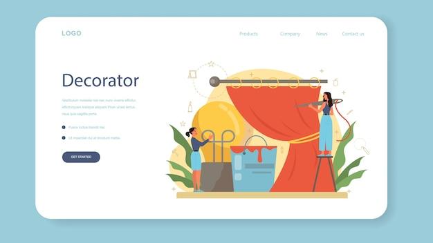 Profesjonalny baner internetowy lub strona docelowa dekoratora. projektant