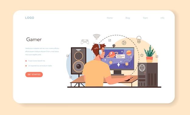 Profesjonalny baner internetowy lub strona docelowa dla graczy. ilustracja wektorowa w stylu kreskówki