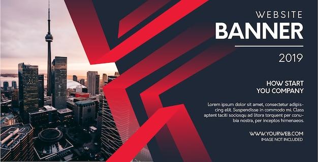 Profesjonalny banner strony internetowej z abstrakcyjnymi czerwonymi kształtami