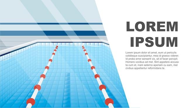 Profesjonalny basen ze ścieżkami do kąpieli i wody płaskie wektor ilustracja miejsce dla tekstu poziomy baner.