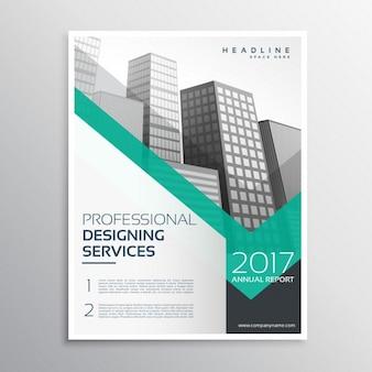 Profesjonalny broszury lub ulotki szablon projektu z kształtami budynków