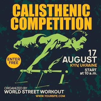 Profesjonalny calisthenic plakat i trening uliczny