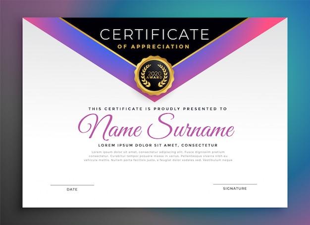 Profesjonalny certyfikat firmowy szablonu zatwierdzenia
