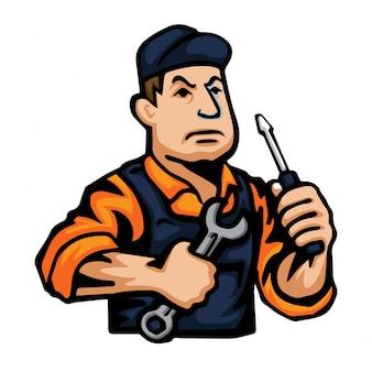 Profesjonalny charakter ilustracja mechanik