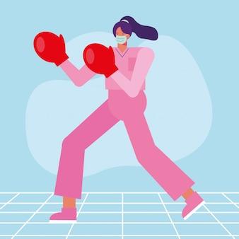 Profesjonalny chirurg kobieta w masce medycznej z rękawiczkami bokser
