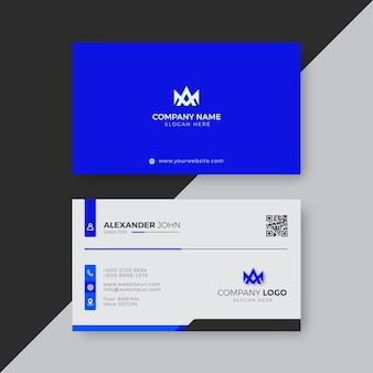 Profesjonalny elegancki niebiesko-biały szablon projektu nowoczesnej wizytówki
