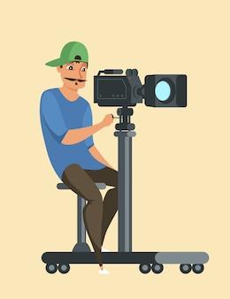 Profesjonalny fotograf w postaci pracy, facet z kamery wideo w czapce, rysunek kamerzysty. sprzęt do nagrywania filmów, proces kręcenia telewizji