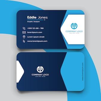 Profesjonalny i kreatywny projekt szablonu niebieskiej wizytówki