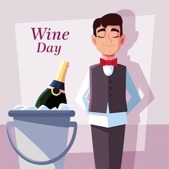 Profesjonalny kelner z butelką wina