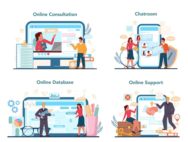 Profesjonalny konsultant usługi online lub zestaw platform