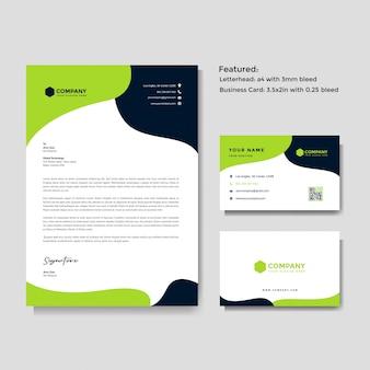 Profesjonalny kreatywny papier firmowy i wizytówki szablon wektor