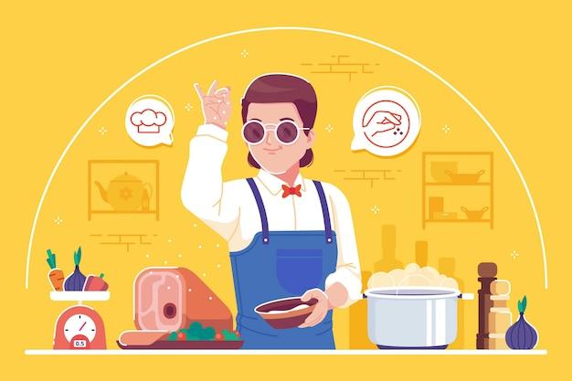 Profesjonalny kucharz charakter ilustracja tło