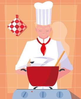 Profesjonalny kucharz gotowania w scenie kuchni