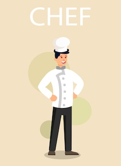 Profesjonalny kucharz w jednolity płaski wektor znaków