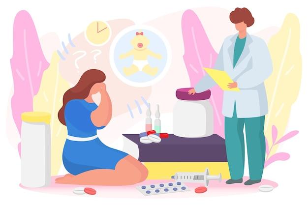 Profesjonalny lekarz ginekolog specjalista pracuje z niepłodnością kobieta bezpłodność kobieta płacze płasko...
