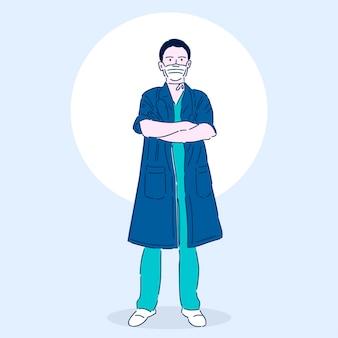 Profesjonalny lekarz w masce medycznej. superbohater. pracownik medyczny. ilustracja wektorowa w nowoczesnym stylu liniowym.