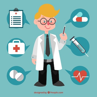 Profesjonalny lekarz z elementami medycznymi