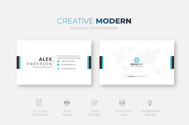 Profesjonalny minimalistyczny nowoczesny szablon wizytówki
