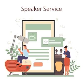 Profesjonalny mówca, komentator lub aktor głosowy, usługa lub platforma online.