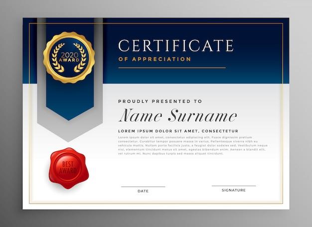 Profesjonalny niebieski szablon certyfikatu