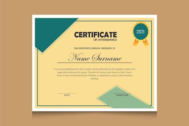 Profesjonalny nowoczesny elegancki szablon certyfikatu